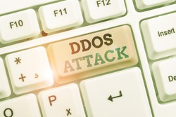 Text sign showing Ddos Attack. Conceptual photo perpetrator seeks to make a network resource unavailable to user.