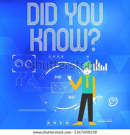 Text sign showing Did You Know Question. Conceptual photo when you are asking someone if they know fact or event Man Standing Holding Pen Pointing to Chart Diagram with SEO Process Icons.