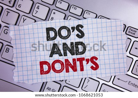 Text sign showing Do'S And Don'Ts. Conceptual photo What can be done and what cannot be knowing right wrong written Tear Notebook paper placed the Laptop. Foto stock ©