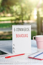 Text sign showing E Commerce Branding. Conceptual photo establish an image of your company in ycustomers eyes Outdoor Coffee And Refresment Shop Ideas, Cafe Working Experience