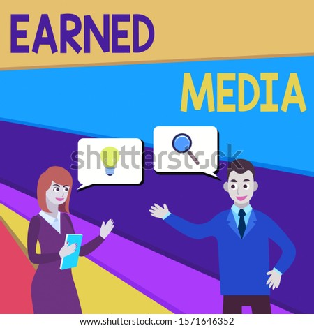Text sign showing Earned Media. Conceptual photo publicity gained through promotional efforts other than paid Business Partners Colleagues Jointly Seeking Problem Solution Generate Idea.