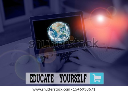 Text sign showing Educate Yourself. Conceptual photo prepare oneself or someone in a particular area or subject Picture photo system network scheme modern technology smart device. Elements of this #1546938671