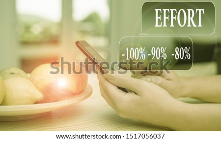 Text sign showing Effort 100 Percent 90 Percent 80 Percent. Conceptual photo Level of determination discipline motivation woman using smartphone office supplies technological devices inside home.