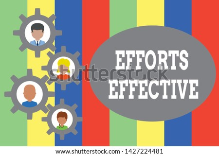 Text sign showing Efforts Effective. Conceptual photo Produces the results as per desired Goal Target Achieve Gearshaped picture frame family ornament mother father daughter son photo.