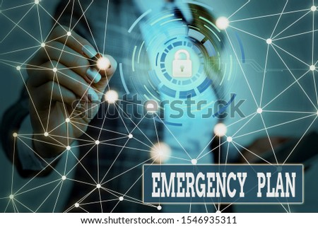 Text sign showing Emergency Plan. Conceptual photo procedures for handling sudden or unexpected situations Picture photo system network scheme modern technology smart device.