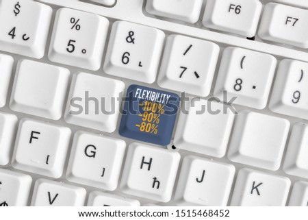 Text sign showing Flexibility 100 Percent 90 Percent 80 Percent. Conceptual photo How much flexible you are maleability level White pc keyboard with empty note paper above white background key copy