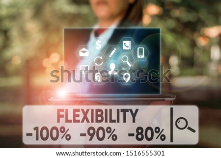 Text sign showing Flexibility 100 Percent 90 Percent 80 Percent. Conceptual photo How much flexible you are maleability level.