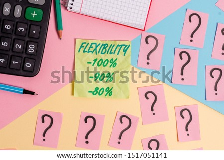Text sign showing Flexibility 100 Percent 90 Percent 80 Percent. Conceptual photo How much flexible you are maleability level Mathematics stuff and writing equipment above pastel colours background.