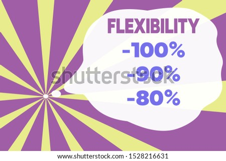 Text sign showing Flexibility 100 Percent 90 Percent 80 Percent. Conceptual photo How much flexible you are maleability level Abstract geometric deep design. Simulating depth background. Futuristic.