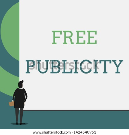 Text sign showing Free Publicity. Conceptual photo Promotional marketing Mass media Public Relations Editorial Back view young woman watching blank big rectangle. Geometrical background.