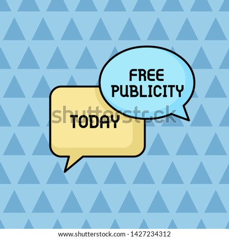Text sign showing Free Publicity. Conceptual photo Promotional marketing Mass media Public Relations Editorial Pair of Overlapping Blank Speech Bubbles of Oval and Rectangular Shape.