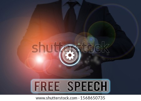 Text sign showing Free Speech. Conceptual photo the right of showing to express their opinions publicly.