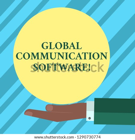 Text sign showing Global Communication Software. Conceptual photo Ways to connect showing across geographic Hu analysis Hand in Suit Offering Blank Solid Color Circle for Logo Posters.