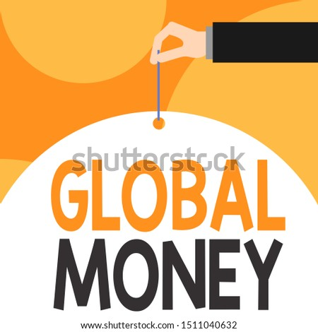 Text sign showing Global Money. Conceptual photo International finance World currency Transacted globally Male hand arm needle punching big half blank balloon geometrical background.