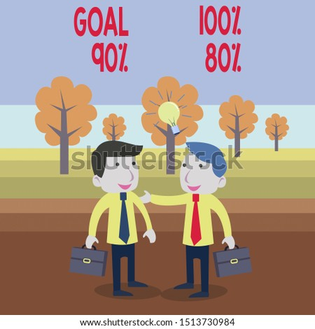 Text sign showing Goal 100 Percent 90 Percent 80 Percent. Conceptual photo Percentage of your objectives fulfilment success level Two White Businessmen Colleagues with Brief Cases Sharing Idea