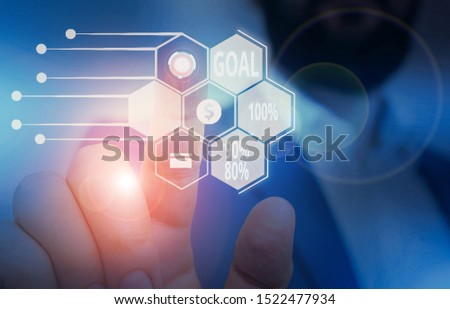 Text sign showing Goal 100 Percent 90 Percent 80 Percent. Conceptual photo Percentage of your objectives fulfilment success level Male human wear formal work suit presenting presentation using smart