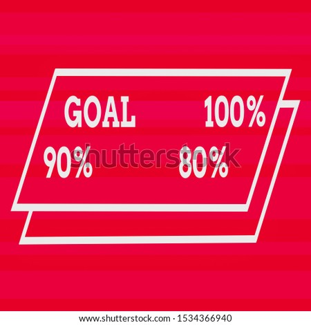 Text sign showing Goal 100 Percent 90 Percent 80 Percent. Conceptual photo Percentage of your objectives fulfilment success level Different Width Alternating Horizontal Stripes Ribbons in Magenta
