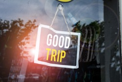 Text sign showing Good Trip. Conceptual photo A journey or voyage,run by boat,train,bus,or any kind of vehicle Empty black board with copy space for advertising. Blank dark board.