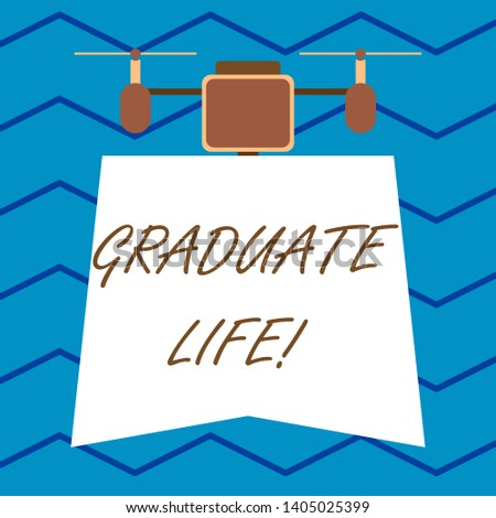 Text sign showing Graduate Life. Conceptual photo condition or a status a demonstrating after finishing academic degree Modern unique design of night lampshade with two air blowers on the top.