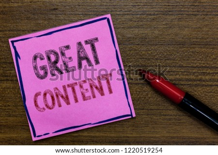 Text sign showing Great Content. Conceptual photo Satisfaction Motivational Readable Applicable Originality Purple Paper Important reminder Communicate ideas Marker Wooden background. #1220519254