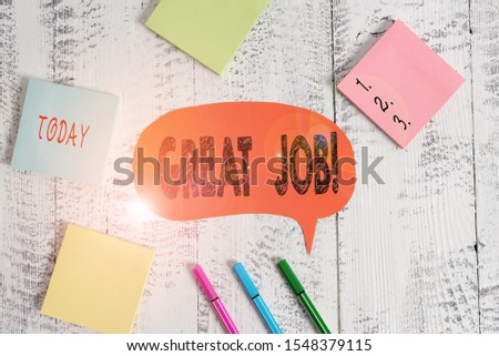 Text sign showing Great Job. Conceptual photo used praising someone for something they have done very well Ballpoints pens blank colored speech bubble sticky notes wooden background. #1548379115