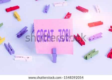 Text sign showing Great Job. Conceptual photo used praising someone for something they have done very well Colored clothespin papers empty reminder blue floor background office pin. #1548392054