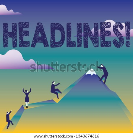 Text sign showing Headlines. Conceptual photo Heading at the top of an article in newspaper Business People Climbing Color Mountain by Themselves Holding Invisible Rope.