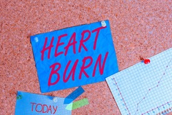 Text sign showing Heart Burn. Conceptual photo a burning sensation or pain in the throat from acid reflux Corkboard color size paper pin thumbtack tack sheet billboard notice board.
