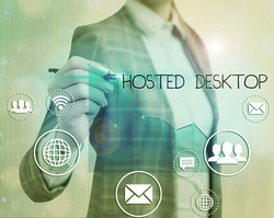 Text sign showing Hosted Desktop. Conceptual photo product set within the larger cloudcomputing sphere.