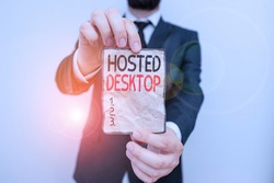 Text sign showing Hosted Desktop. Conceptual photo product set within the larger cloudcomputing sphere Male human wear formal work suit office look hold notepaper sheet use hand.