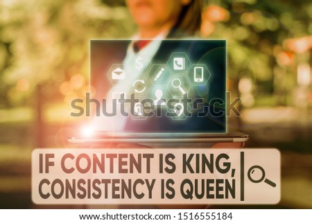 Text sign showing If Content Is King Consistency Is Queen. Conceptual photo Marketing strategies Persuasion.