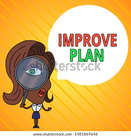 Text sign showing Improve Productivity. Conceptual photo to increase the machine and process efficiency Woman Looking Trough Magnifying Glass Big Eye Blank Round Speech Bubble.