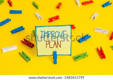 Text sign showing Improve Productivity. Conceptual photo to increase the machine and process efficiency Colored clothespin papers empty reminder yellow floor background office.