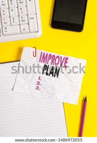 Text sign showing Improve Productivity. Conceptual photo to increase the machine and process efficiency Crumpled white paper on table with paper clips clock mobile and pc keyboard.