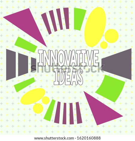 Text sign showing Innovative Ideas. Conceptual photo application of better solutions that meet new requirements Asymmetrical uneven shaped format pattern object outline multicolour design.