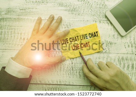 Text sign showing Live Chat Live Chat Live Chat. Conceptual photo talking with showing friends relatives online.