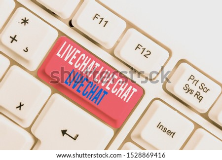 Text sign showing Live Chat Live Chat Live Chat. Conceptual photo talking with showing friends relatives online White pc keyboard with empty note paper above white background key copy space.