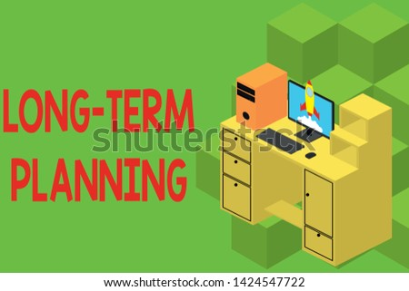Text sign showing Long Term Planning. Conceptual photo Establish Expected Goals five or more years ahead Working desktop station drawers personal computer launching rocket clouds.