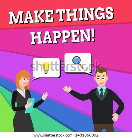 Text sign showing Make Things Happen. Conceptual photo you will have to make hard efforts in order to achieve it Business Partners Colleagues Jointly Seeking Problem Solution Generate Idea.