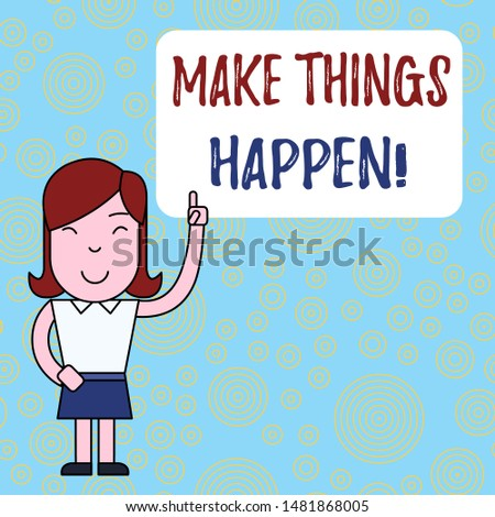 Text sign showing Make Things Happen. Conceptual photo you will have to make hard efforts in order to achieve it Woman Standing with Raised Left Index Finger Pointing at Blank Text Box.