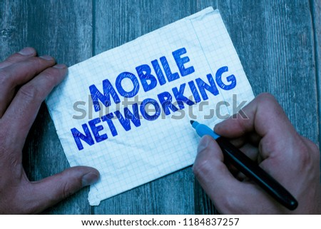 Text sign showing Mobile Networking. Conceptual photo Communication network where the last link is wireless #1184837257