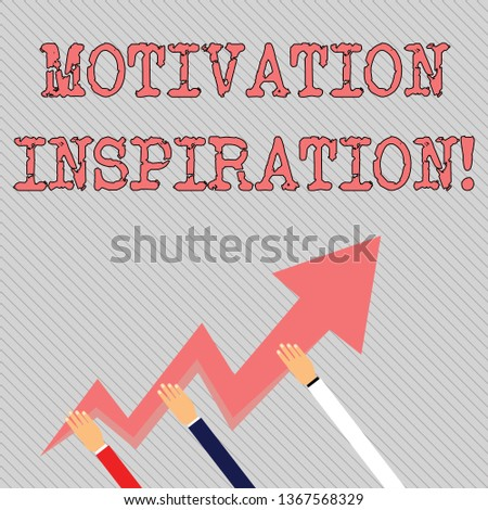 Text sign showing Motivation Inspiration. Conceptual photo ability to change the way we feel about life Three Hands Holding Colorful Zigzag Lightning Arrow Pointing and Going Up.