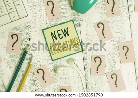 Text sign showing New Regulations question. Conceptual photo rules made government order to control way something is done Writing tools, computer stuff and scribbled paper on top of wooden table.