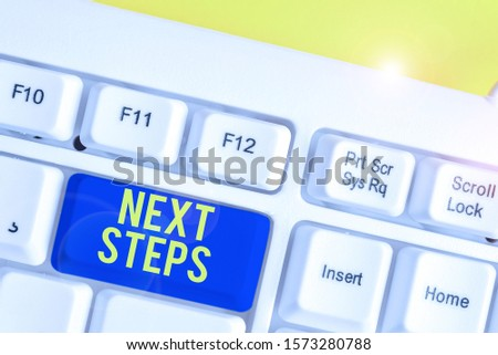 Text sign showing Next Steps. Conceptual photo numper of process going to be made after current one planning White pc keyboard with empty note paper above white background key copy space. #1573280788