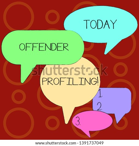 Text sign showing Offender Profiling. Conceptual photo Develop profiles for offenders who not yet apprehended Many Color Speech Bubble in Different Sizes and Shade for Group Discussion.