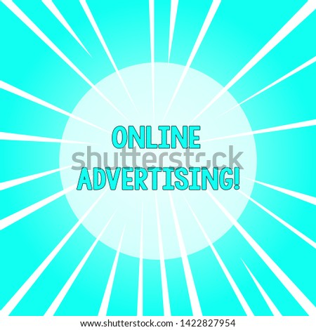 Text sign showing Online Advertising. Conceptual photo Internet Web Marketing to Promote Products and Services Sunburst Explosion Different Size White Beams Halftone Center Perspective.
