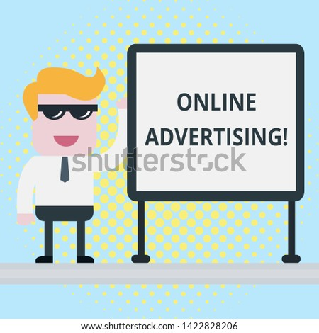 Text sign showing Online Advertising. Conceptual photo Internet Web Marketing to Promote Products and Services Businessman Office Worker Sunglasses Blank Whiteboard Meeting Presentation.