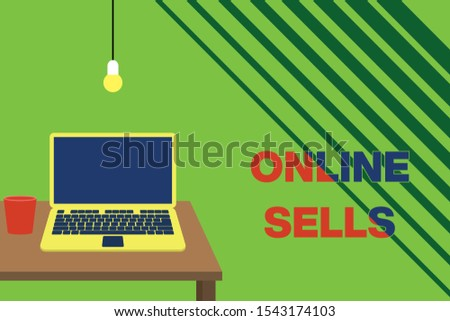 Text sign showing Online Sells. Conceptual photo sellers directly sell goods or services over the Internet Front view open laptop lying on wooden desktop light bulb falling glass.