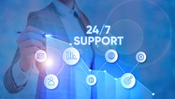 Text sign showing 24 Or 7 Support. Conceptual photo twentyfour hours seven days a week support to client.