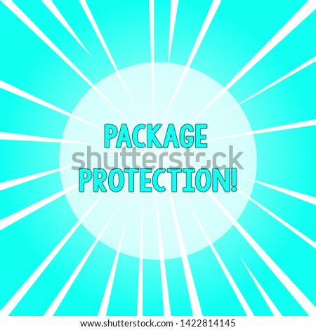 Text sign showing Package Protection. Conceptual photo Wrapping and Securing items to avoid damage Labeled Box Sunburst Explosion Different Size White Beams Halftone Center Perspective.
